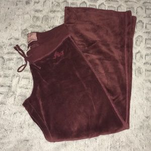 Abercrombie burgundy Velour Lounge Pants